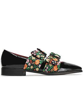 372cc0443b4d1c Ganni Ganni Woman Maya Bow-embellished Floral-print Faille And  Patent-leather Loafers