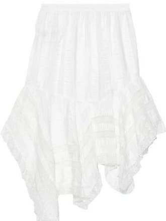 Philosophy di Lorenzo Serafini Philosophy Di Lorenzo Serafini Woman Asymmetric Lace-trimmed Striped Crinkled-satin Skirt White Size 38