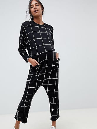 c225b1fa6aec Asos Maternity ASOS DESIGN Maternity minimal jersey jumpsuit with batwing  sleeve in check print - Multi