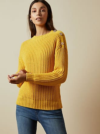 Ted Baker Button Sleeve Cable Knit Jumper in Yellow WHTNEE, Womens Clothing