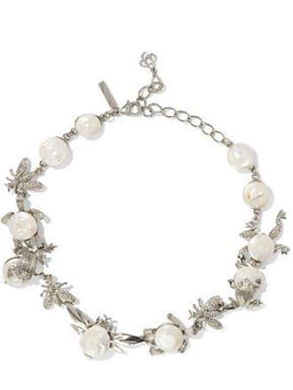 Oscar De La Renta Oscar De La Renta Woman Silver-tone, Crystal And Resin Necklace White Size