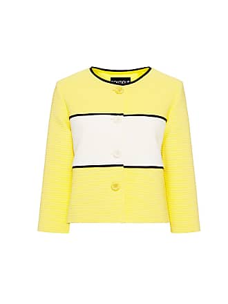 Moschino Ribbed Stripe Cropped Blazer Yellow/white