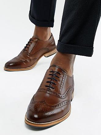 b283a6509bfa14 Asos Chaussures Richelieu pointure large en cuir avec semelle naturelle et  détails bleu marine - Marron