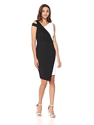 Calvin Klein Womens Sleeveless Color Block Sheath with Shoulder Cut Out Dress, Black/White, 12