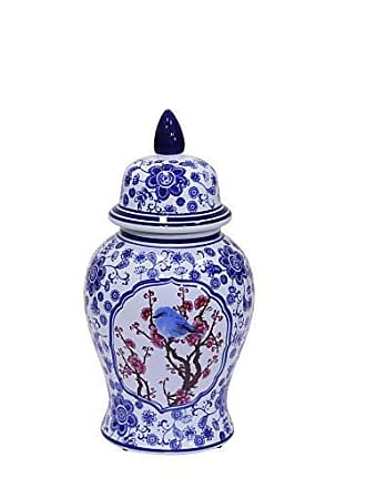 Sagebrook Home 12053-02 Decorative Ceramic Temple Jar, Blue/White/Crimson Ceramic, 7.25 x 7.25 x 17 Inches