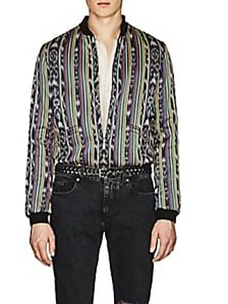 Saint Laurent Mens Ikat-Inspired Cotton-Silk Reversible Varsity Jacket Size 50 EU