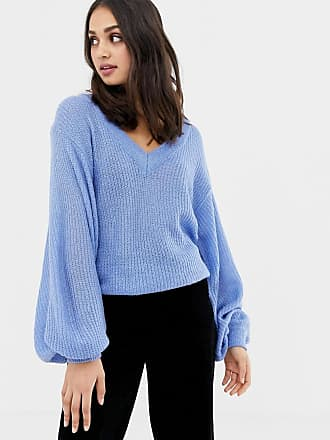 Brave Soul harrio v neck sweater with wide sleeves - Blue