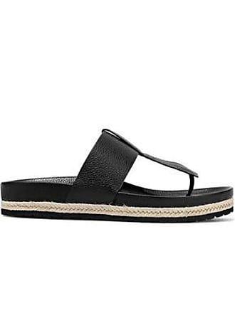Vince Vince. Woman Avani Jute-trimmed Textured-leather Sandals Black Size 10