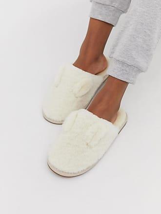 Vero Moda fluffy slip on mule slippers - White