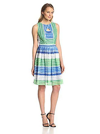 5182a13ea24f Julian Taylor Womens Sleeveless Stripe Printed Fit and Flare Cutout Dress,  Royal/Green,
