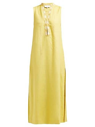 Zeus + Dione Persephone Embroidered Linen Midi Dress - Womens - Yellow