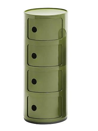 Kartell Componibili 4 Container - grün/glänzend/H 77cm/ Ø 32cm/Neue Farbe