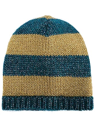 e63e27be243 Gucci blue and mustard yellow striped knit beanie