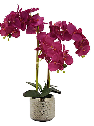 Three Hands Faux Orchid in Metallic Silver Flower Pot - 39263