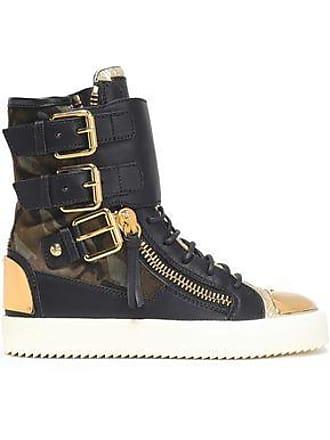 870da6f816f Giuseppe Zanotti Giuseppe Zanotti Woman Printed-paneled Leather High-top  Sneakers Black Size 37.5