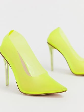 82681566171 Public Desire Drank neon yellow clear court shoes