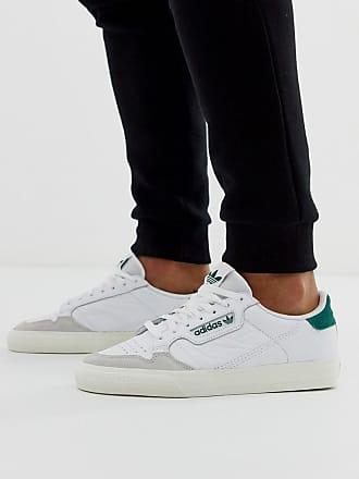 adidas Originals Continental 80 Vulc - Leder-Sneaker mit grüner Zugschlaufe-Weiß