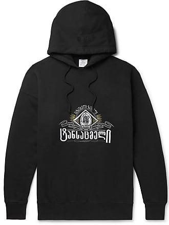 VETEMENTS Oversized Embroidered Fleece-back Cotton-jersey Hoodie - Black