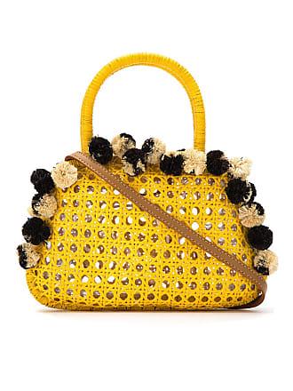 Serpui Bolsa de palha com aplicação - Amarelo