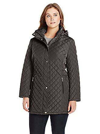 Calvin Klein Womens Plus-Size Classic Quilted Jacket with Side Tabs, Black, 3X
