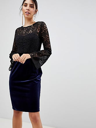 Paper Dolls Long Sleeve Lace Pencil Dress - Black