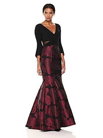 Xscape Womens Long Ity Bellsleeve with Mermaid Brocade Skirt, Black/Berry, 8