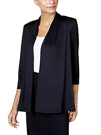 Kasper Womens 3/4 Sleeve Cardigan with Back Waist Detail, Black, M