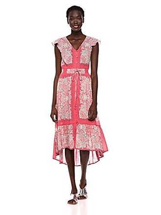 Lucky Brand Womens Border Print Felice Dress, Red Multi, XS