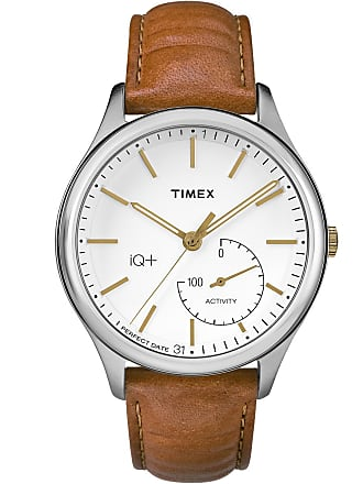 Timex Watch Mens Iq+ Move 41MM Leather Strap Silver-Tone/brown/white Item Tw2P94700F5