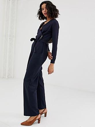 Vero Moda wrap button detail jumpsuit - Navy
