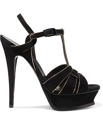 ccf2977b38a Saint Laurent Tribute Metallic Leather-trimmed Suede Platform Sandals -  Black