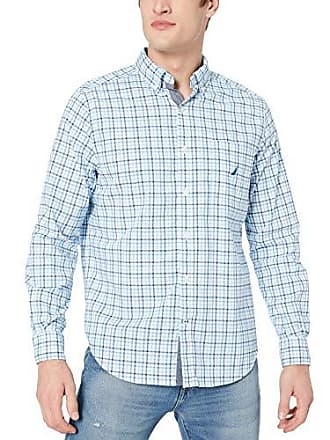 Nautica Mens Long Sleeve Solid Plaid Stretch Cotton Button Down Shirt, Bright White, X-Large