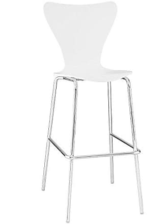 ModWay Modway Ernie Mid-Century Modern Bar Stool in White With Chrome Legs
