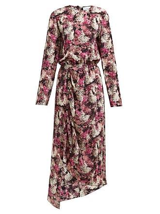 Raey Asymmetric Ditsy Floral Print Silk Dress - Womens - Pink Print