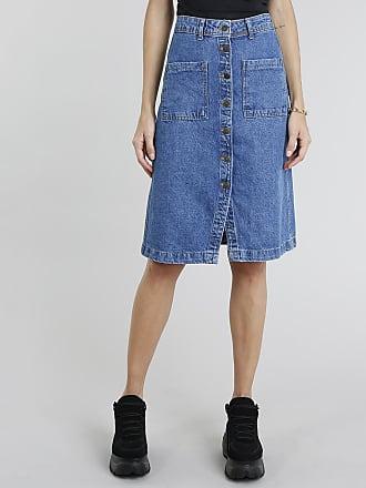 C&A Saia Jeans Feminina com Botões Azul Médio