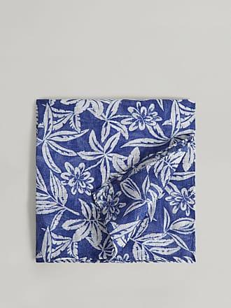 Hackett Flowers Linen Pocket Square   Navy