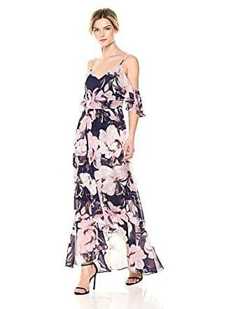 0c30e3f5205 Vince Camuto Womens Cold Shoulder Chiffon Maxi Dress, Navy Multi, 10