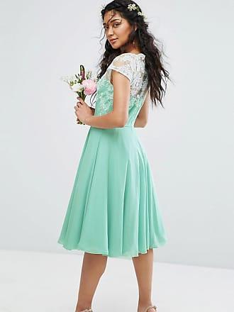 2e0e8fce567 Chi Chi London Full Midi Dress With Metallic Embroidery - Green
