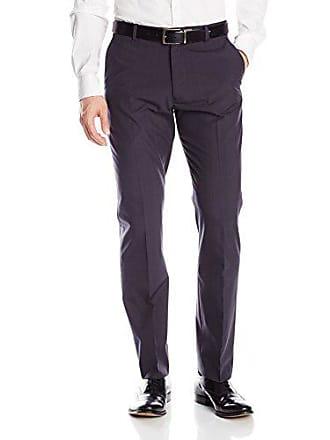 Haggar Mens Two Tone Plaid Expandable Waist Straight Fit Plain Front Pant, Black, 38x30