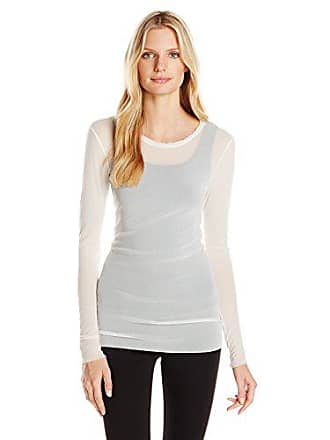 Only Hearts Womens Tailored Tulle Long-Sleeve Crew-Neck Shirt, Creme, X-Small/Small