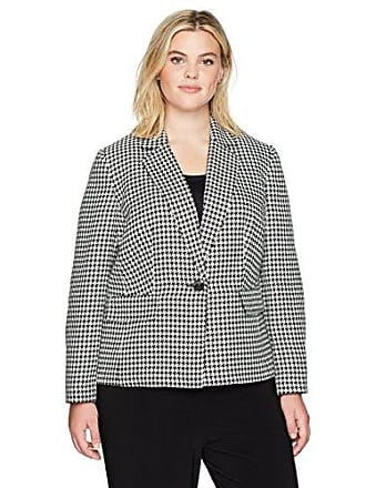 Kasper Womens Plus Size Classic Houndstooth 1 Button Notch Lapel Jacket, Black/Ivory 22W