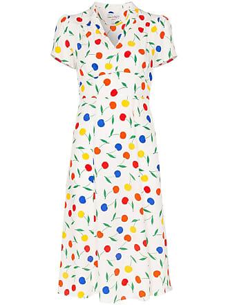 HVN Morgan rainbow cherry print V-neck silk midi dress - White