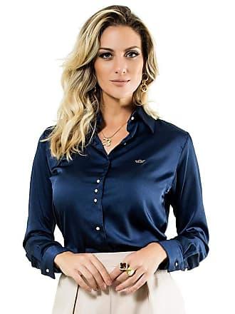 Principessa Camisa Azul Marinho Feminina de Cetim Principessa Jussara