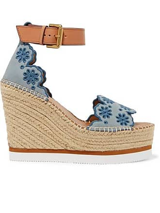 See By Chloé Embroidered Suede And Leather Espadrille Wedge Sandals - Blue