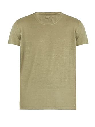 120% Lino Short Sleeved Linen T Shirt - Mens - Khaki