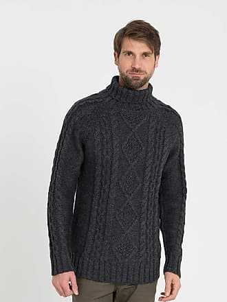 defb9cb76f6c WoolOvers Mens Pure Wool Aran Polo Neck Jumper Charcoal
