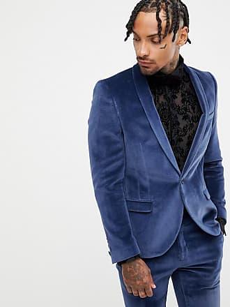 Twisted Tailor Giacca da abito super skinny in velluto blu navy