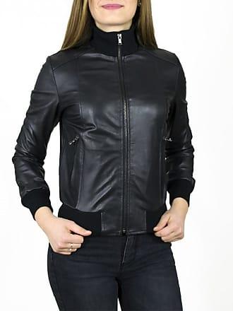 Leather Trend Italy Bomber Donna - Giacca in Vera Pelle colore Nero Morbida