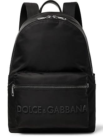 Dolce & Gabbana Logo-detailed Leather-trimmed Canvas Backpack - Black