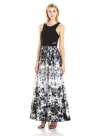 Xscape Womens Long Ity Top with Floral Print Ballgown, Black/Pink 10
